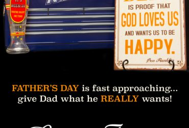 Cooler, beer mug and wall signs for Father's Day