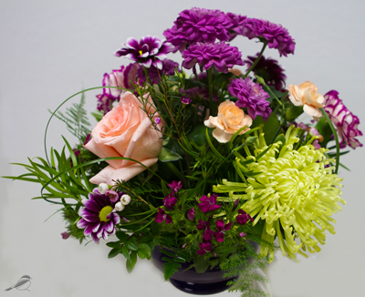 Purple Mums and Peach Roses