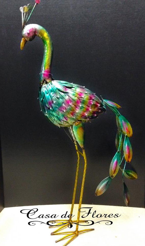 Brightly Coloured Metal Peacock for your garden