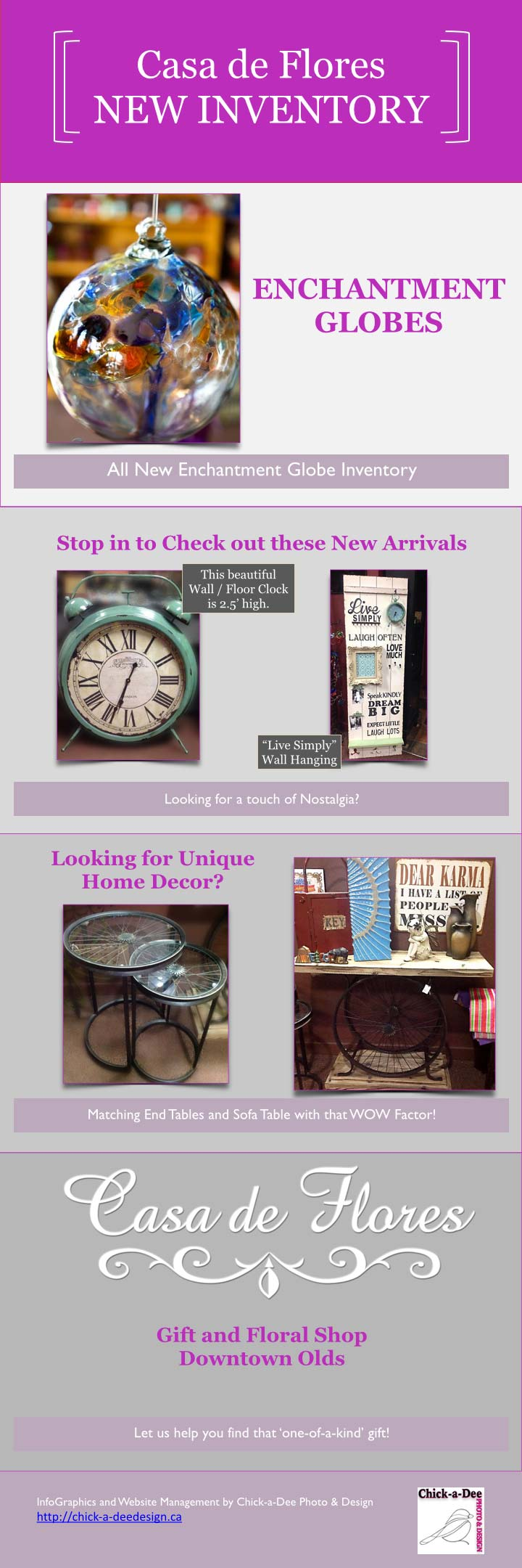 Gazing Garden Globe, Ornamental Floor clock, Bicycle Wheel end tables and sofa table, wall hangings