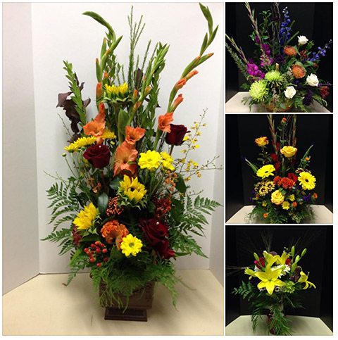 Variety of autumn floral arrangements with glads, lilies, sunflowers and more