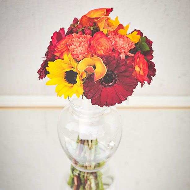 Autumn Colours of Gerbera Cala Lilies and Carnations
