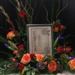 Blue Iris and Orange Roses Picture Frame Memorial Arrangement