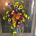 Blue Iris and Sunflower Standing Spray