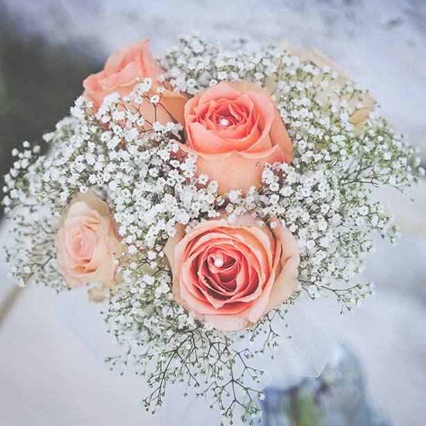 Peach Roses and Pearls Bridal Bouquet