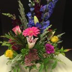 Floral Arrangement of Pink Gerbera Daisy, Stargazer Lilies and Delphinium Arrangement