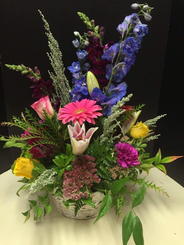 Floral Arrangement of Pink Gerbera Daisy, Stargazer Lilies and Delphinium Arrangement