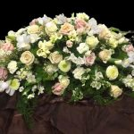 Pink and Peach Rose Casket Spray by Casa de Flores