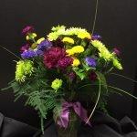 Floral Arrangement of Yellow Mums, Purple Carnation Arrangement