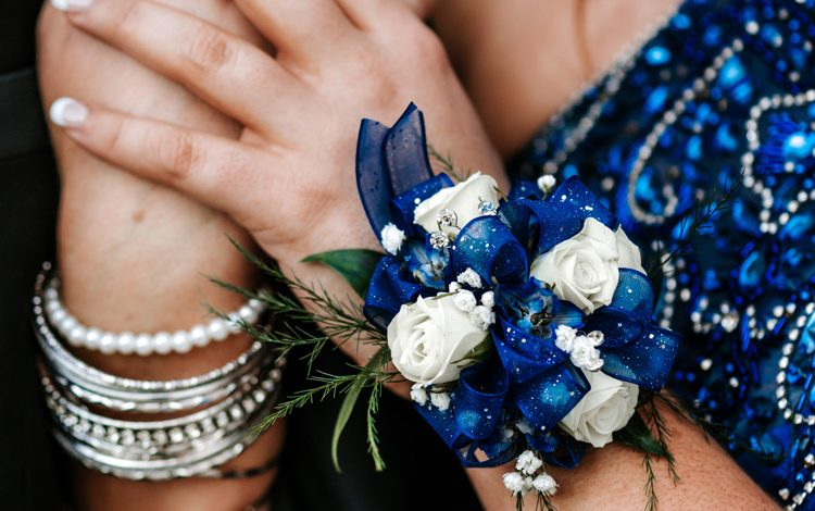 Blue & white graduation wrist corsage